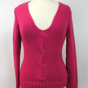 MICHAEL KORS Cotton V Neck CableKnit Sweater